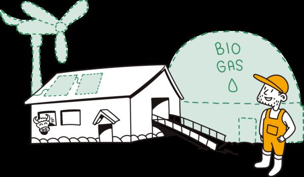 tyytyväinen maaseutuyrittäjä ja teksti: biogas. piirretty kuva.